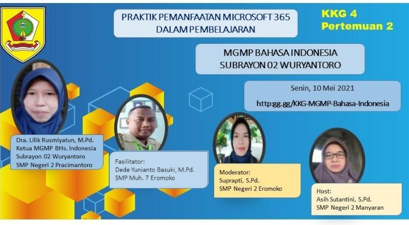 MGMP Bahasa Indonesia Subrayon 02 Laksanakan Praktik  Pemanfaatan Microsoft 365