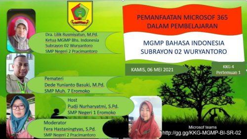 MGMP Bahasa Indonesia  Subrayon 02 Dalami Pemanfaatan Microsoft 365
