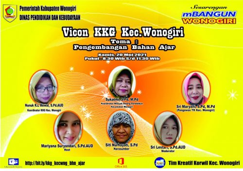 KKG Dan Team Kreatif Kecamatan Wonogiri Gelar Vicon   Pengembangan Bahan Ajar