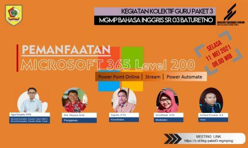 MGMP Bahasa Inggris Subrayon 03 Baturetno Gelar KKG bertajuk Pemanfaatan Microsoft Office 365 Level 200
