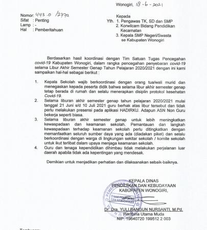Pemberitahuan Upaya Pencegahan Covid-19 Selama Libur Akhir Semester Genap 2020/2021